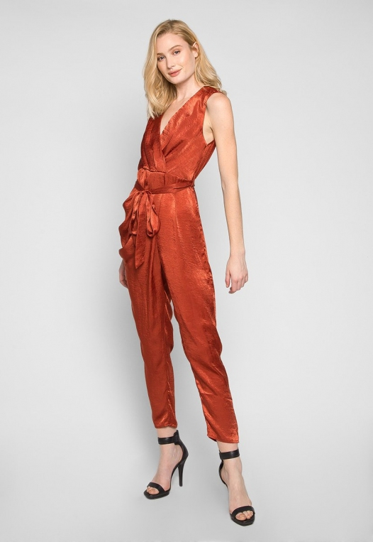 Young & Beautiful Wrap Belted Jumpsuit in Rust alternate img #4