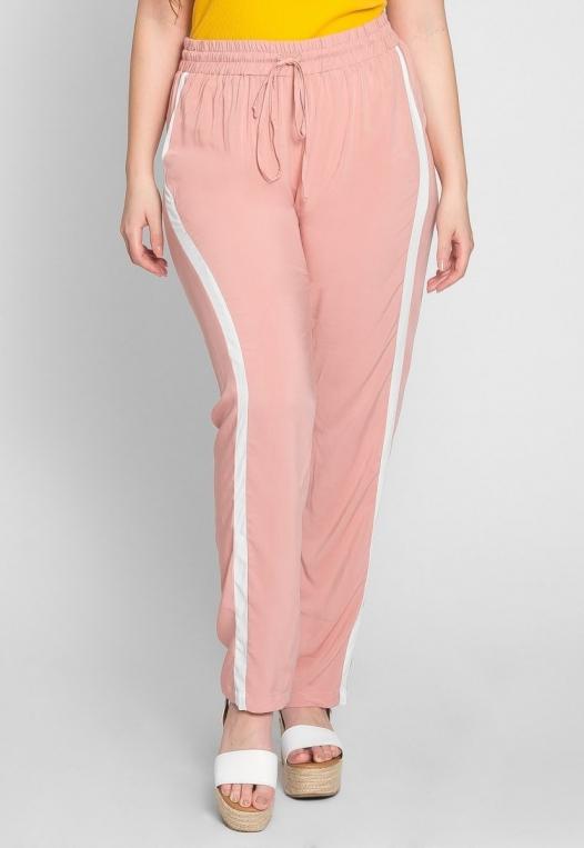 Plus Size Side Stripe Knit Pants in Blush alternate img #3
