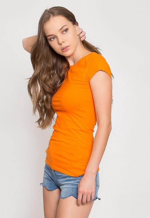 Venus Fitted Crew Neck Tee in Orange alternate img #3