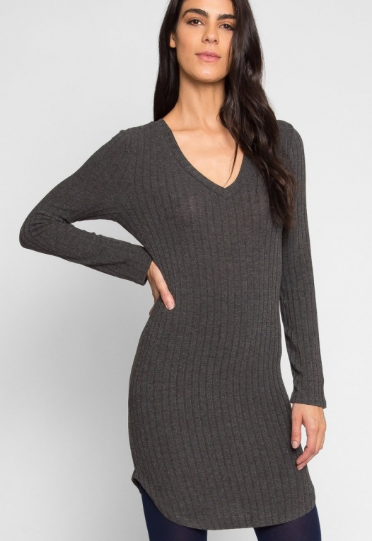 Ashton Ribbed Bodycon Dress in Charcoal alternate img #1