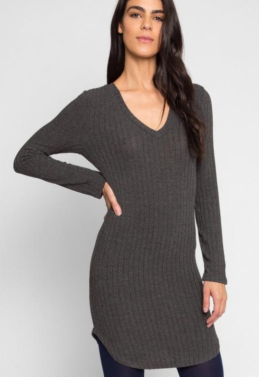 Ashton Ribbed Bodycon Dress in Charcoal alternate img #1