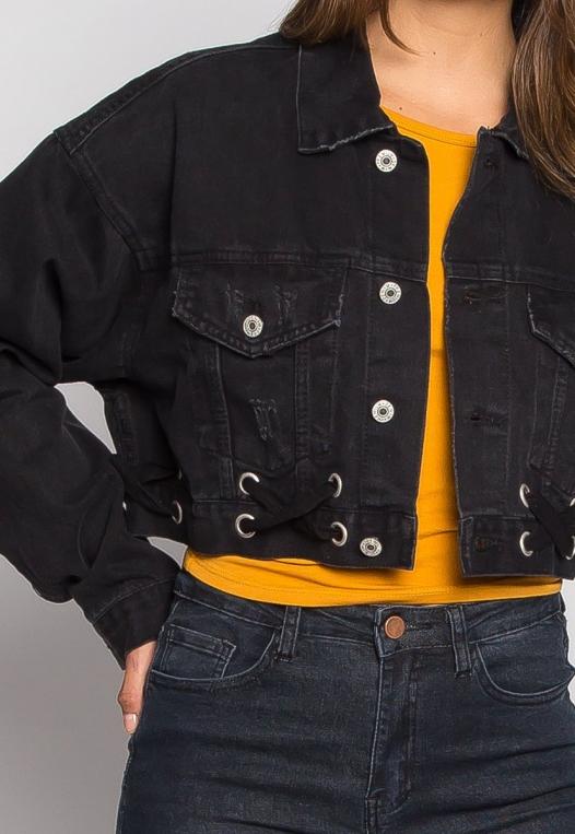 Moonlight Crop Denim Jacket alternate img #6