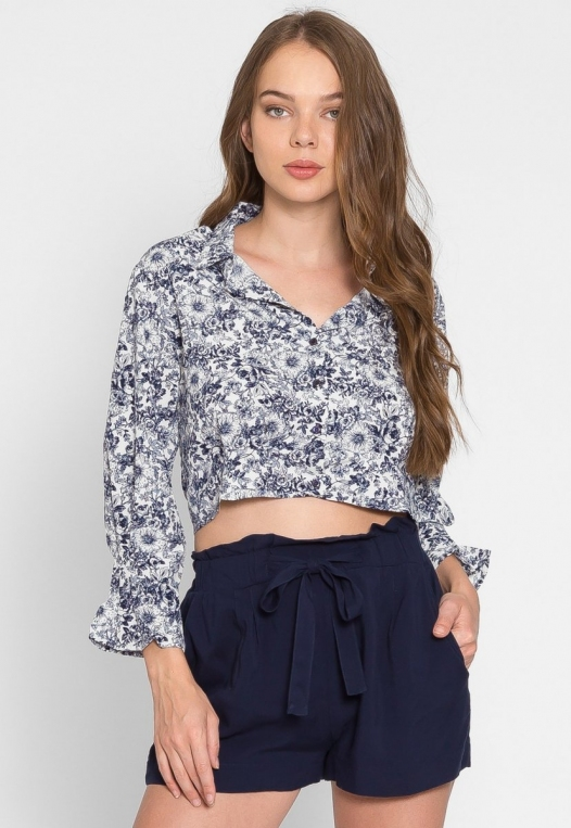 Outcast Floral Crop Button Up Shirt in Navy alternate img #5