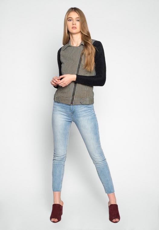 Strangers Asymmetrical Zip Striped Vest alternate img #4