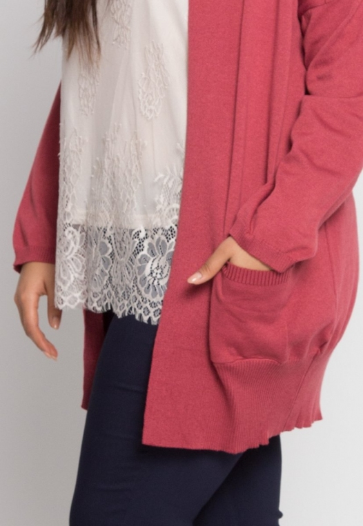 Plus Size Fireplace Cardigan in Burgundy alternate img #6