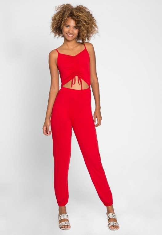 Hot Alert Cut Out Jumpsuit in Red alternate img #4