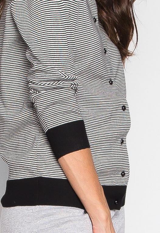 Black & White Wide Stripe Button Up Cardigan alternate img #6