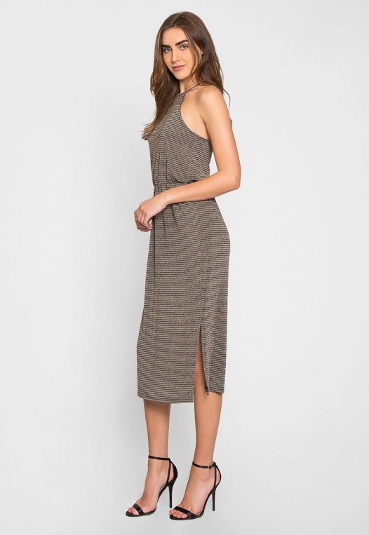 Gina Metallic Striped Maxi Dress alternate img #3