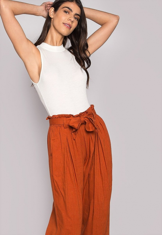 P.S. I Love You Paper Bag Wide Leg Pants alternate img #5