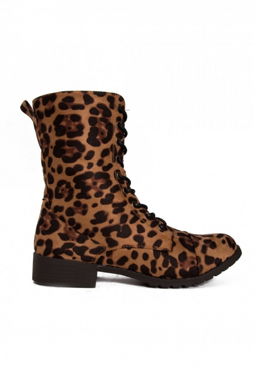 Hold Up Leopard Combat Boots alternate img #1
