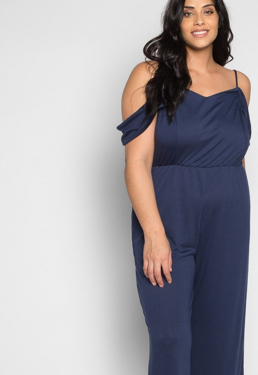 Plus Size Sunday Cold Shoulder Jumpsuit in Navy alternate img #5