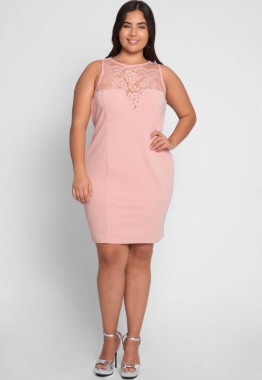 Plus Size Soiree Fitted Dress in Blush alternate img #4