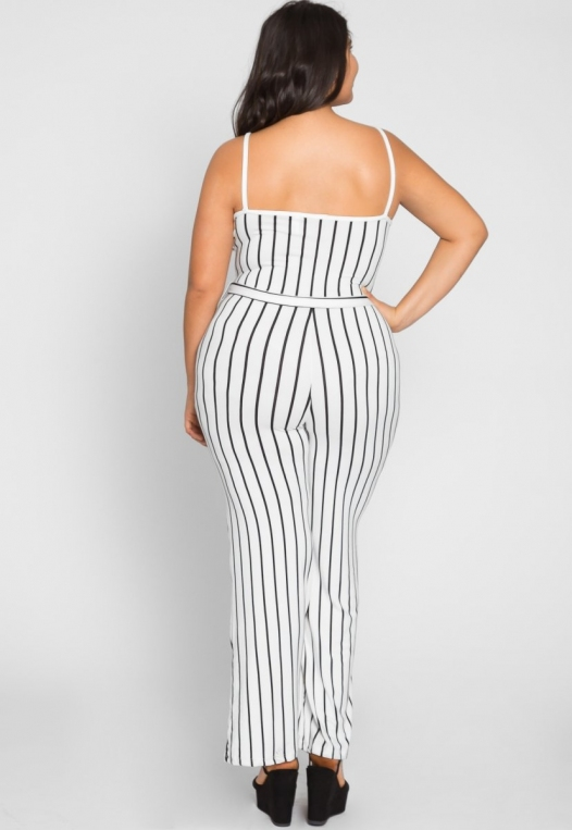 Plus Size Dazzling Stripe Jumpsuit in White alternate img #3