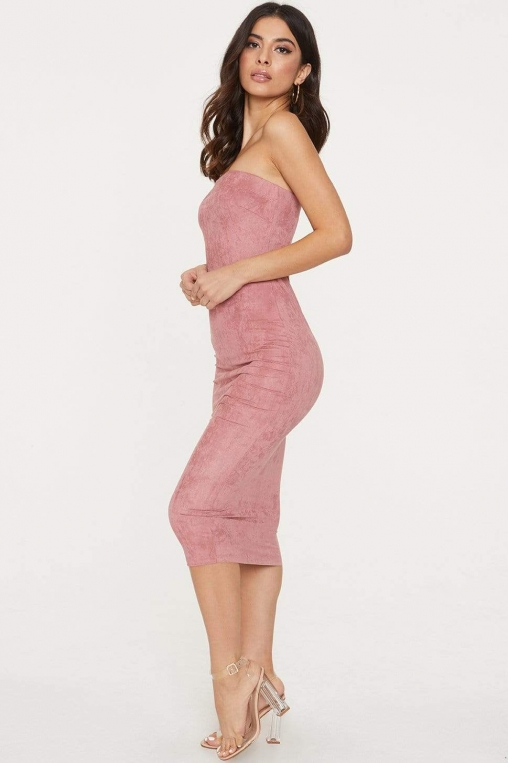 Strapless Suede Midi Bodycon Dress alternate img #3