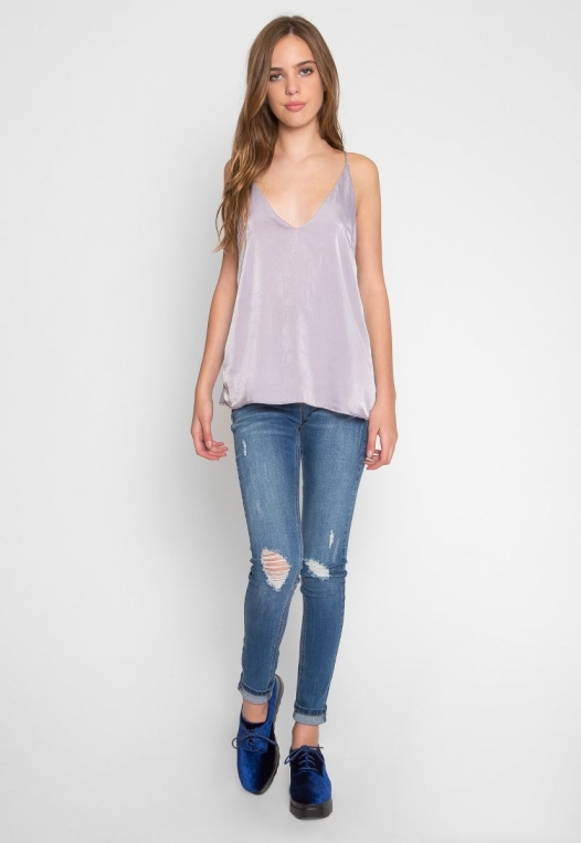 Bright Eyes Satin Cami Top in Mauve alternate img #5