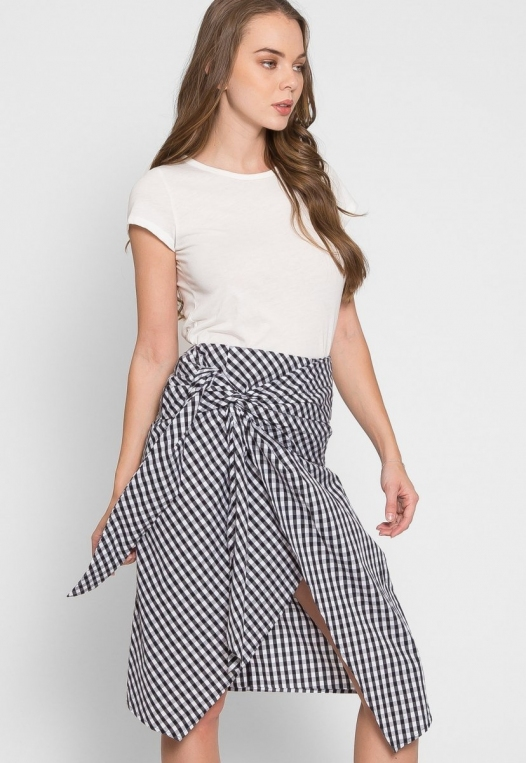 Gorgeous Gingham Plaid Tie Front Skirt alternate img #1