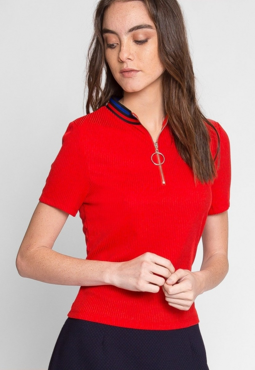 Exuberant Sports Trim Polo Top in Red alternate img #1