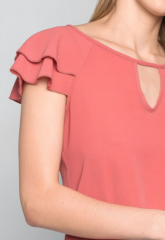 Blushing Cheeks Flutter Sleeve Blouse in Pink alternate img #6