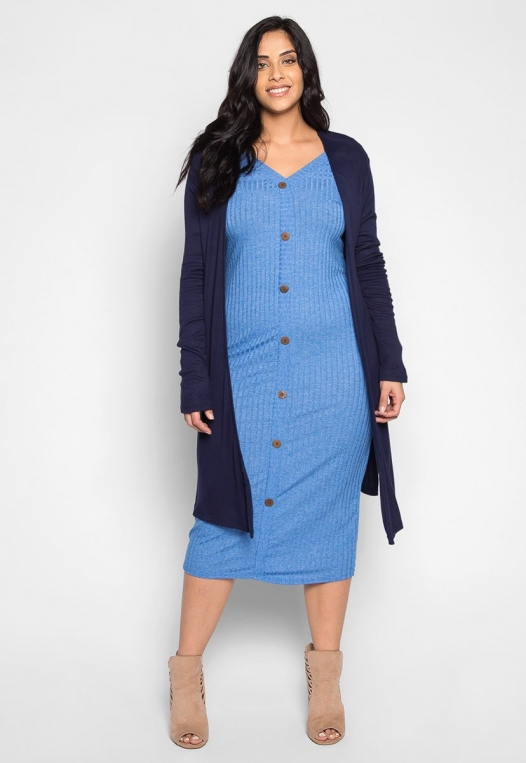 Plus Size Lucky Girl Open Front Cardigan in Navy alternate img #4