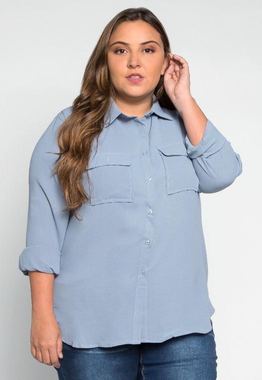 Plus Size Erin Flap Pockets Shirt alternate img #1