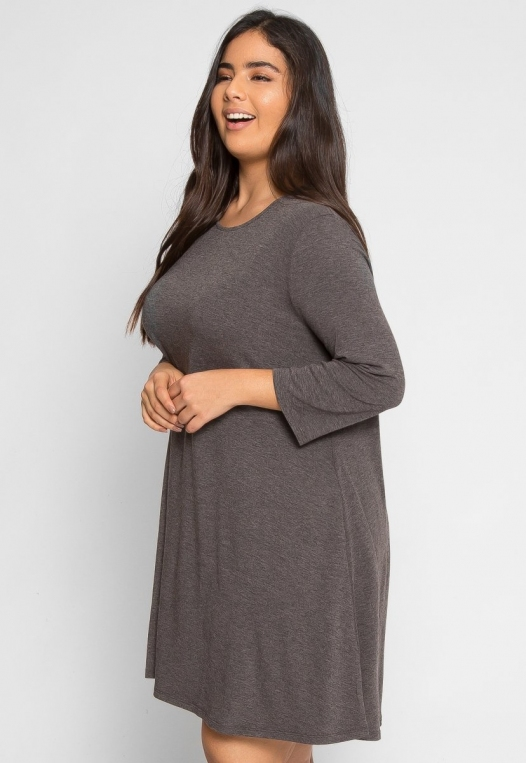 Plus Size Catwalk Tunic Knit Dress in Charcoal alternate img #2