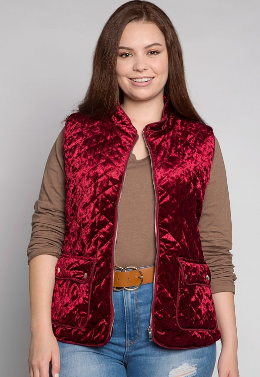 Plus Size Mountain Call Quilted Vest in Burgundy alternate img #1