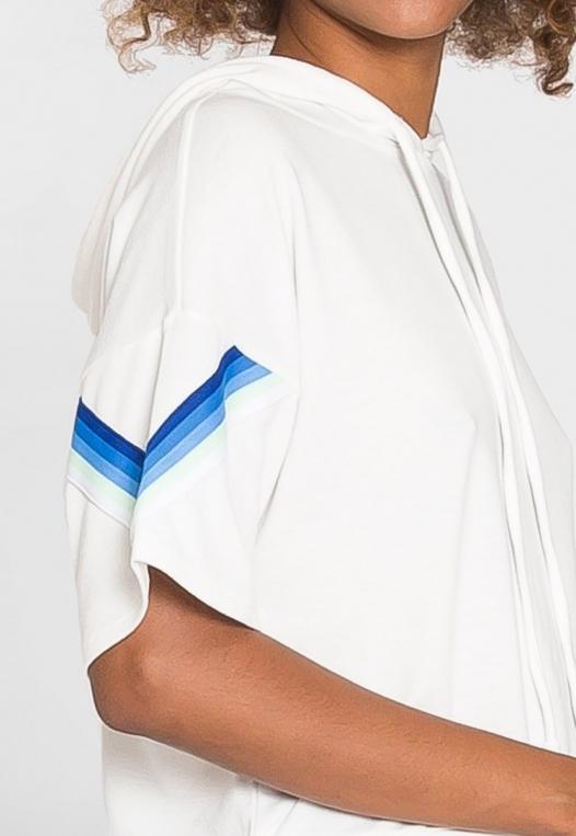Hills Side Tape Knit Hoodie in White alternate img #7
