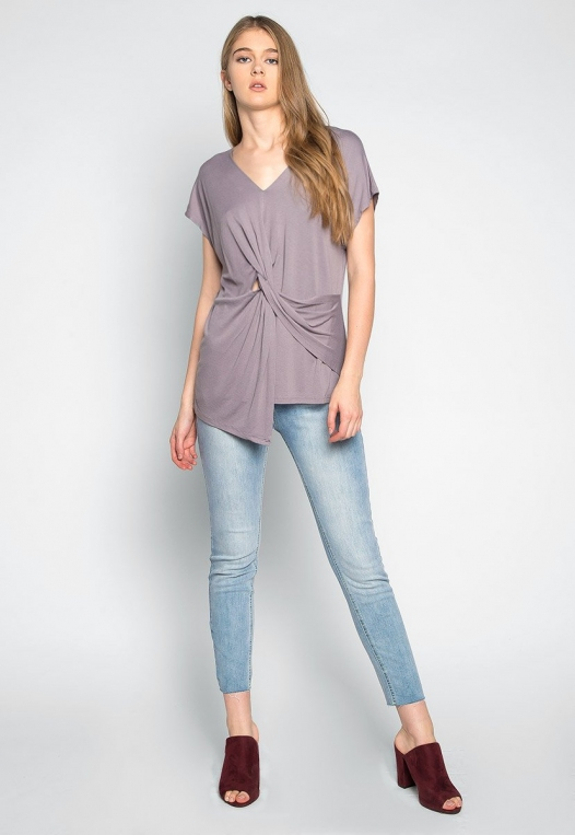 Float on Twisted Front Blouse in Gray alternate img #4