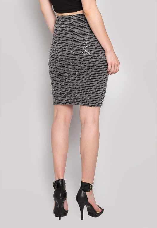 Ocean Waves Sequin Fitted Skirt in Black alternate img #2