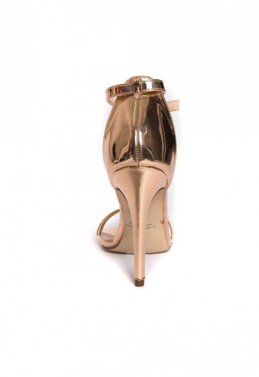 Strike Gold Metallic Ankle Strap Heels alternate img #2