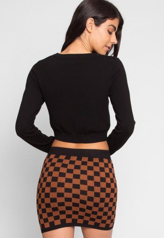 Skate Park Checkered Skirt in Brown alternate img #3