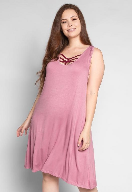 Plus Size Love Stories Tank Dress in Pink alternate img #1