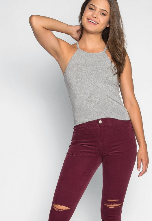 Lina Basic Tank Top in Heather Gray alternate img #5