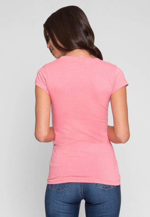 Sleepless Nights Basic Scoop Neck Tee in Pink alternate img #3
