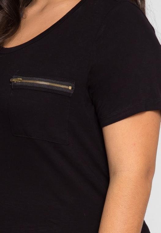 Plus Size Essence Zipper Patch Knit Top alternate img #6