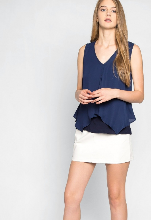 Stay True Layered Loose Fit Blouse in Navy alternate img #5