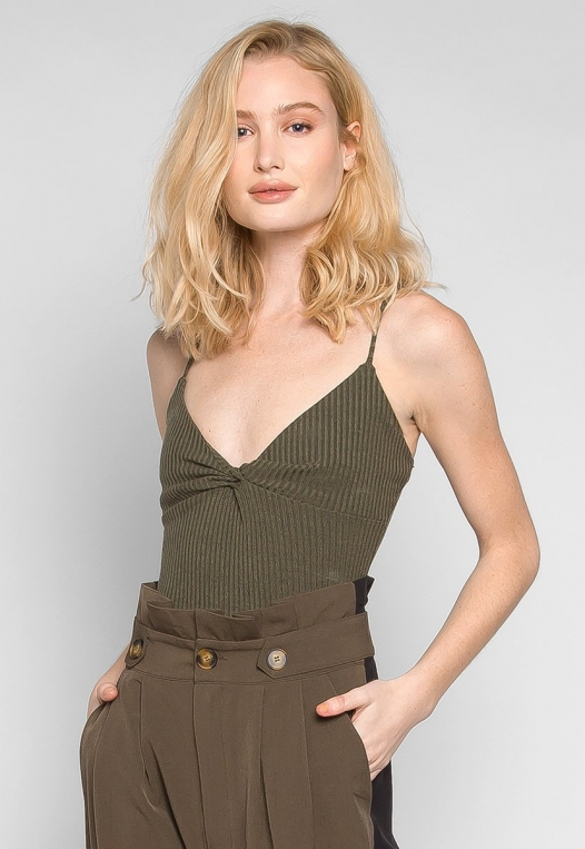 Sparrow Twisted Front Ribbed Bodysuit alternate img #1