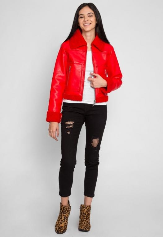 All Stars Luxe Bomber Jacket in Red alternate img #7