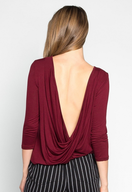 Popsicle Open Back Knit Top in Burgundy alternate img #2