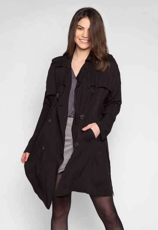Look My Way Belted Trench Coat In Black alternate img #1