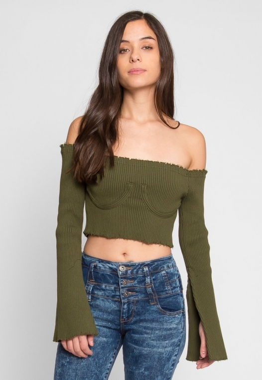 Faux Underwire Long Sleeve Top in Olive alternate img #2