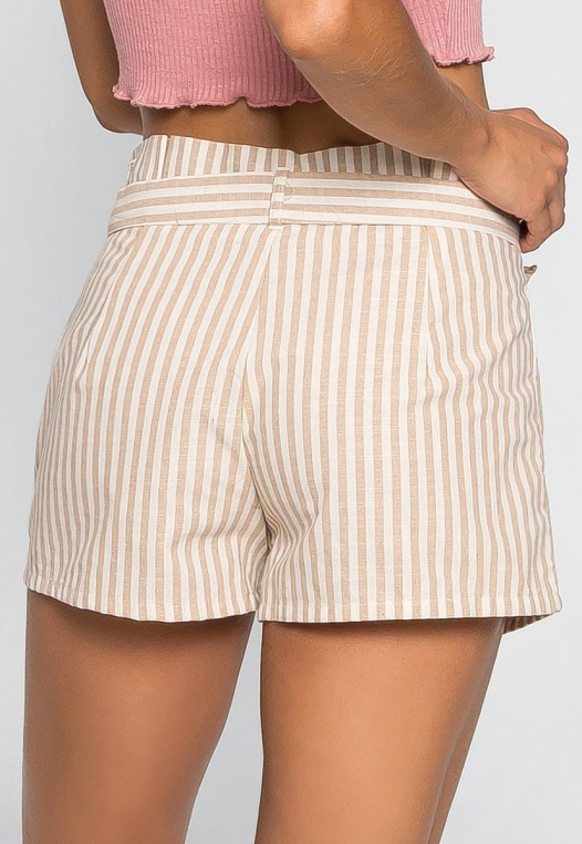Cappuccino Stripe Paper Waist Shorts alternate img #2