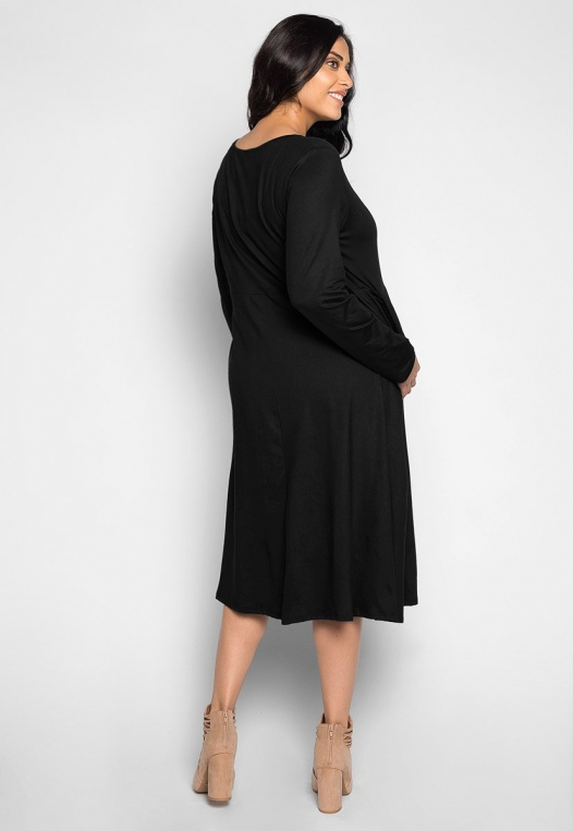 Plus Size Cherry Bomb Fit & Flare Dress in Black alternate img #2