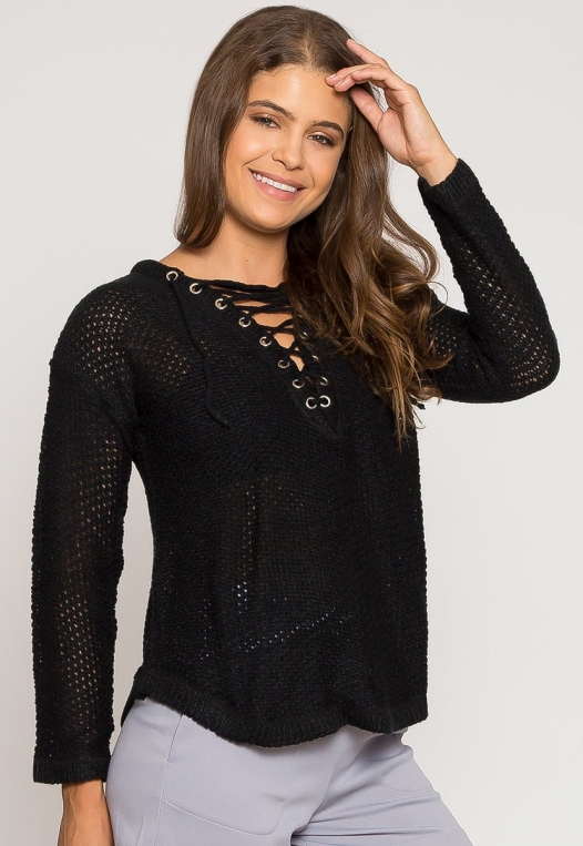 April Lace Up Sweater in Black alternate img #1