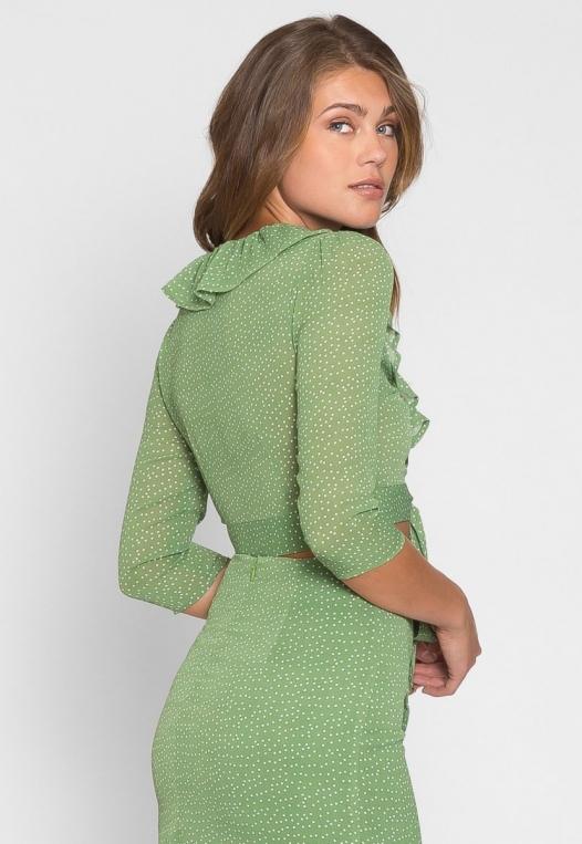 Tootsie Polka Dot Wrap Top in Green alternate img #4