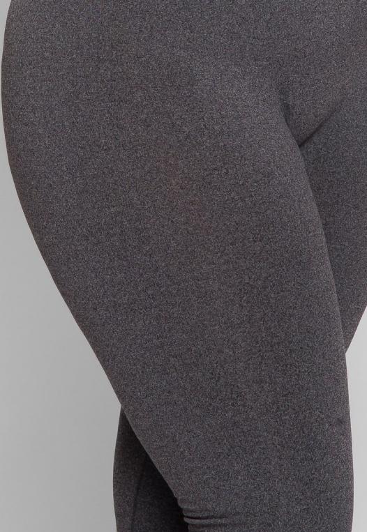 Plus Size High Waist Fleece Leggings in Charcoal alternate img #6