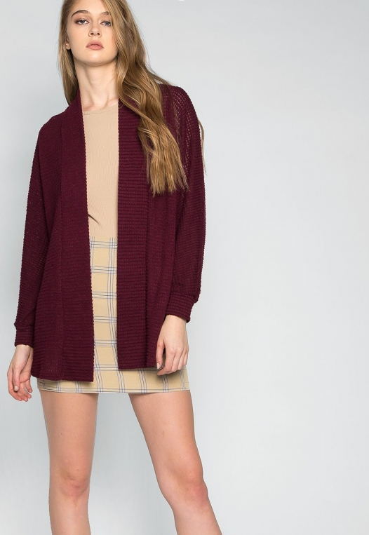 Keep Me Warm Textured Cardigan in Burgundy alternate img #5