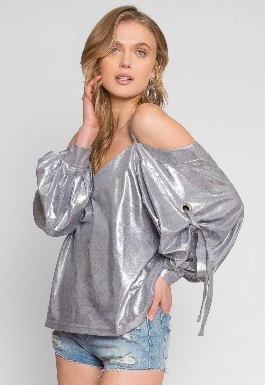 No One Knows Metallic Exaggerated Sleeve Top alternate img #1