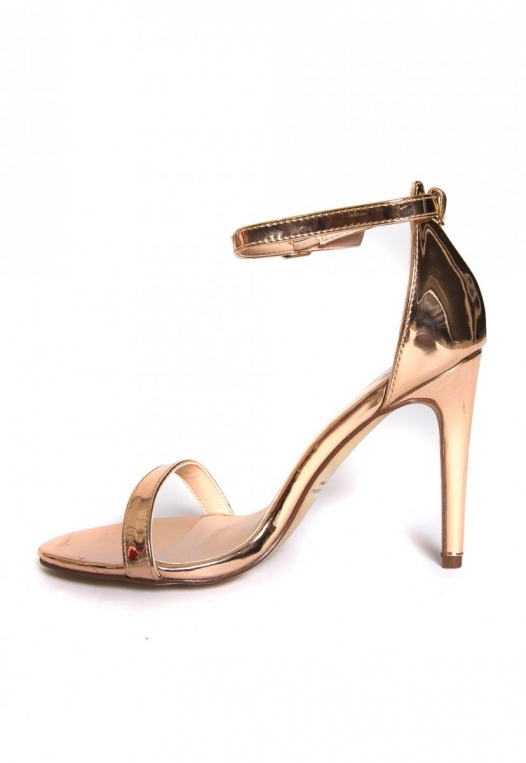 Strike Gold Metallic Ankle Strap Heels alternate img #3