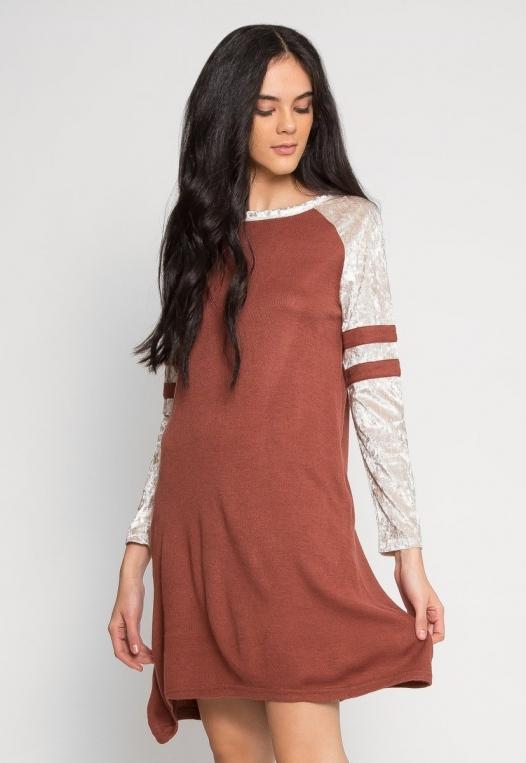 Catcher Varsity Velvet Dress in Wine alternate img #2